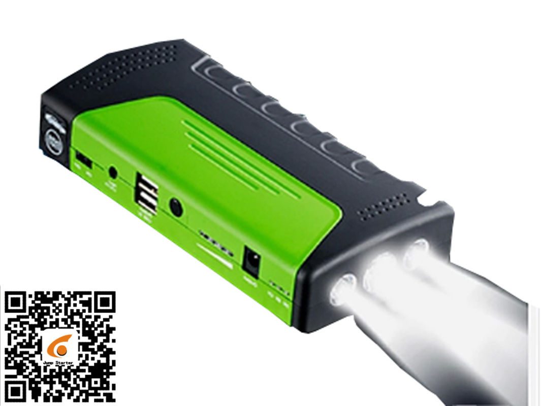 Green Portable Car Jump Starter Led Light Torch / Sos / Strobe 3 In 1 Jump Starter And Power Supply